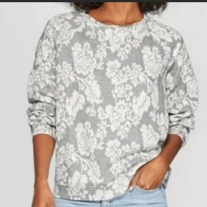 Floral Lightweight Crew Neck Sweater